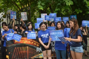 Students of  St Stephen's Girls' College, led by their alumni, marched around the school campus to protest against the school 's decision to join the Direct Subsidy Scheme.