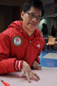 Wong Kam-lung, a member of HKSAP Boccia team