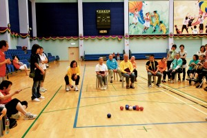 All eyes on the game at this Boccia competition for the elderly