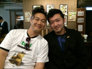 Chan with artist Eason Chan Yik-shun