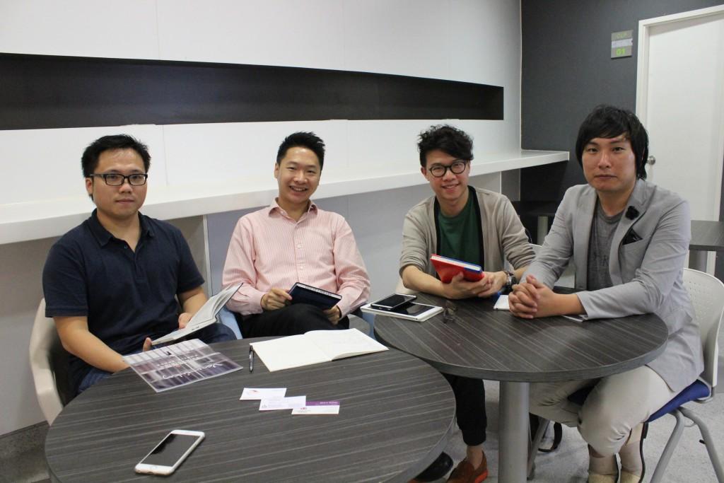 Kongish Daily co-founders Tsang Alfred Jones, Pedro Lee Lok-yi, Jeffrey Lau Wai-lun and Nick Wong Chun