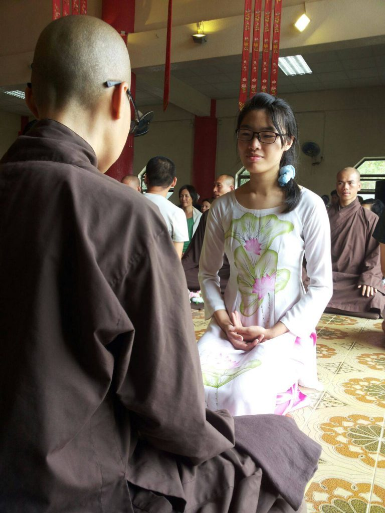 Sze-chai is doing meditation in Plum Village.