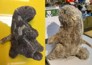 "Before and after a soft toy rabbit is ""healed""."